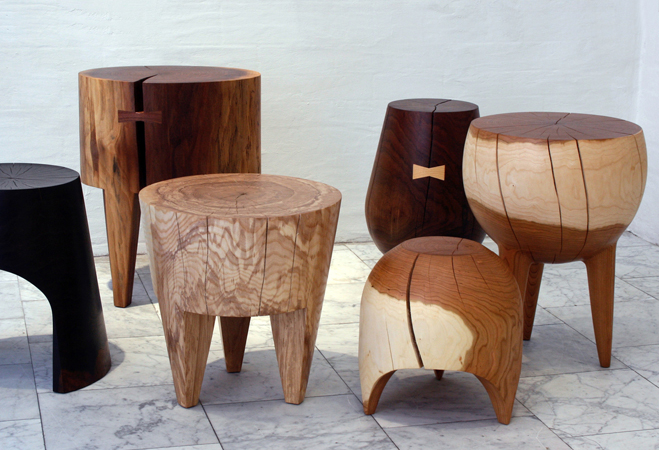Locally Sourced And Salvaged Wooden Stump Stools By