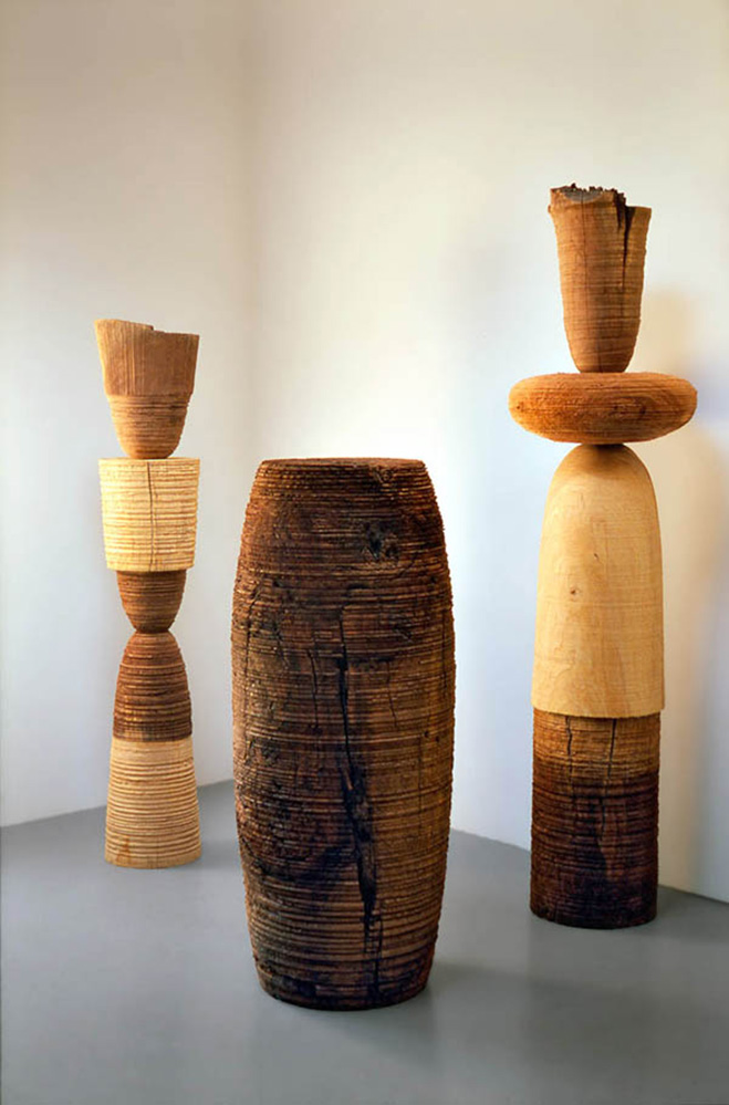 Ichiboku totemic series wooden sculptures by craftsman